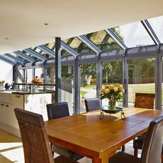 How to plan kitchen diner extensions – modern design ideas Lean To Conservatory, Conservatory Kitchen, Conservatory Ideas, Glass Kitchen, New Kitchen, Kitchen Dining, Kitchen Ideas, Design Kitchen, Dining Room