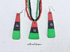 Red Black Green Jewelry Set, Urban jewelry, Ethnic jewelry, Urban necklace, Urban earrings, Ethnic necklace, Ethnic earrings, jewelry set by EarthMetalPaper on Etsy
