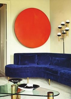 Habitually Chic®: Color Blocked  the style and shape of this couch reminds me of the one we had growing up, also had the boomerang coffee table