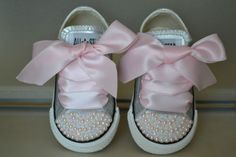 """Kids """" Pearl and Bling""""  high/low top converse in choice of color & ribbon shoelace to match. Cute for flowergirls, photos,or just because"""