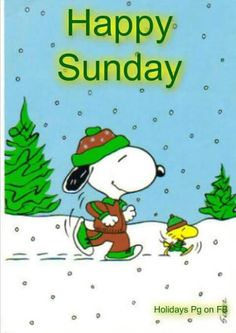 Happy Sunday - Snoopy and Woodstock Dressed in Winter Running Gear and Jogging in the Snow