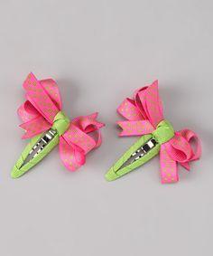 Take a look at this Pink & Lime Bow Clip Set by Bubbly Bows on Ribbon Art, Ribbon Crafts, Ribbon Bows, Baby Girl Hair Clips, Crafts To Make, Diy Crafts, Tictac, Hair Bow Tutorial, Hair Ribbons