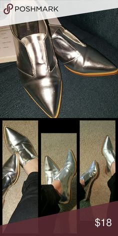 Pointy toe Loafers Silver metallic color Loafers from forever 21 Forever 21 Shoes Flats & Loafers