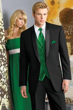 Classic Shawl Lapel Tuxedo with Tango Emerald Vest and Tie.They look really annoyed :) Prom Tuxedo, Tuxedo Wedding, Wedding Men, Wedding Suits, Wedding Styles, Wedding Ideas, Wedding Stuff, Dream Wedding, Wedding Dresses