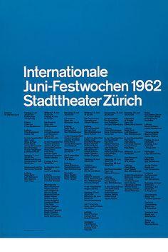Internationale Juni Festwochen – 1962    Design – Josef Müller–Brockmann