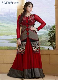 RED AND GREY GEORGETTE SUIT WITH EMBROIDERY WORK