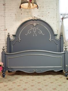 Painted Cottage Shabby Slate Grey Romantic Bed