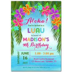 Luau birthday invitation luau invitation hawaiian invitation luau invitation printable or printed with free shipping personalized for your occassion birthday anniversary shower beach luau stopboris Image collections