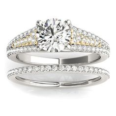 Transcendent Brilliance 14k Gold Cathedral Triple Row Diamond Bridal Set 1 1/10 TDW (White/Yellow - Size 5.75), Women's, Two-Tone