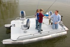The Pond King Ultra small pontoon boat has room for the entire family! The all-aluminum welded frame and pontoons make this fishing boat lightweight and maneuverable – great for shallow water fishing.