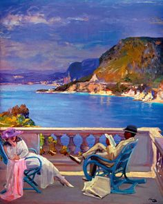 Morning, South of France by Sir John Lavery, Irish painter People Reading, Irish Painters, Pintura Exterior, Giovanni Boldini, Irish Art, South Of France, Beautiful Paintings, Painting & Drawing, Amazing Art
