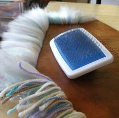 How to Make Yarn into Fur for those trendy pompoms. Crafts To Do, Yarn Crafts, Felt Crafts, Fabric Crafts, Sewing Crafts, Arts And Crafts, Diy Crafts, Fabric Yarn, Recycled Crafts