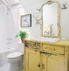 Old dresser sink cabinet -looking for colors for my all white bathroom! may add this yellow to the cabinets! Dresser Sink, Vanity Sink, Mirrored Dresser, Repurposed Furniture, Shabby Chic Furniture, Dresser Repurposed, Vintage Furniture, White Furniture, Dresser Furniture