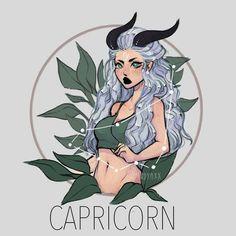 Anime Zodiac, Zodiac Art, Zodiac Signs Pictures, Capricorn Aesthetic, Capricorn Art, Zodiac Characters, Cartoon Girl Images, Dark Art Drawings, Cute Art