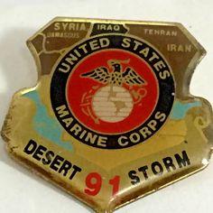 Desert Storm 1991 USMC Metal Lapel Pin US Marine Corp Shield Tie Tack | Collectibles, Militaria, Militaria (Date Unknown) | eBay!