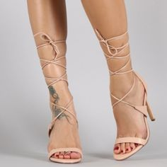 "Lace-up Nude Heels Open toe heels with self-tie lace up construction. Heel height 4.25"" Available Sizes: 7.5 & 8 Shoes Heels"
