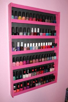 Tuesday Night Activity - DIY Nail Polish Rack for under $5 After watching several videos on YouTube last night, I got super inspired to turn my mess of a collection into this pretty awesome rack - and...