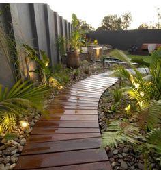 Wooden Path contemporary landscape by imag_ne design + construction Tropical Backyard Landscaping, Landscaping Melbourne, Tropical Garden, Landscaping Ideas, Modern Backyard, Walkway Ideas, Path Ideas, Backyard Ideas, Backyard Designs