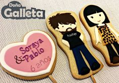 Galletas decoradas. El aniversario de Soraya t Pablo Sugar, Cookies, Desserts, Amor, Decorated Cookies, Crack Crackers, Tailgate Desserts, Deserts, Biscuits