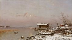 Hjalmar Munsterhjelm (1840-1905) Marraskuun ilta / November evening 1889 - Finland Moonlight Painting, Finland, Winter, November, Artists, Museum, Land Art, Paisajes, Paintings