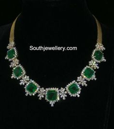 Diamond Necklace Set, Emerald Necklace, Emerald Jewelry, Diamond Pendant, Diamond Jewelry, Silver Jewelry, Emerald Pendant, Gold Jewellery, Indian Jewelry