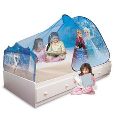 Turn bedtime into the magical world of Arendelle where Anna and Elsa live with the Frozen Sleep-Away Bed Tent from Disney. The see-through canopy features ...  sc 1 st  Pinterest & Disney Frozen Bedroom Furniture Ideas   Tents Disney frozen and Toy