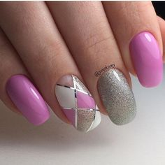 Silver Outlined Pink and White Geometric Nail Art. This nail art design is less of the negative space nail design and more of the geometric nail art.