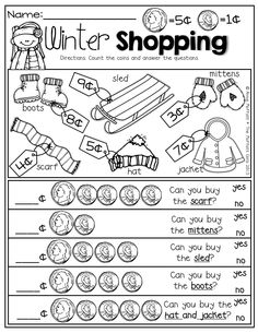 Money management worksheets—-Winter Shopping with nickels and pennies! Prefect for adding up to 10 and comparing numbers! Math For Kids, Fun Math, Math Activities, Math Games, Maths, Teaching Money, Student Teaching, Math Classroom, Kindergarten Math