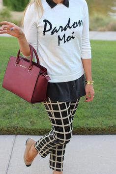 Graphic sweater, Grid pants, cute flats and Maroon bag. Yes, please!!!