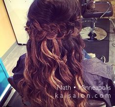 #braids #brunette #brunettehair #aveda #avedacolor #hair #weddinghair #curls #themoment #kaisalonmn #minneapolishair