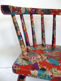 Fabric decoupage - children's chair
