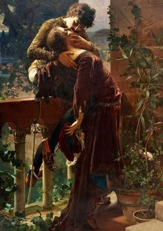 Julius Kronberg, Swedish, 1850-1921 ' Romeo and Juliet on the balcon'