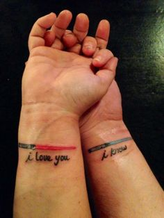 """Our 10th anniversary """"couples"""" tattoo!  If you don't get it, ask as Star Wars geek ;)"""