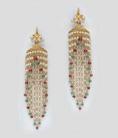 Various kinds of jhumkis& from Mangatrai jewellers. For more details visit www. Diamond Earrings Indian, Indian Jewelry Earrings, India Jewelry, Pearl Jewelry, Jewelery, Gold Jewelry, Gold Earrings Designs, Gold Jewellery Design, Necklace Designs