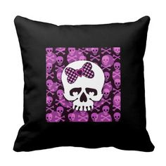 Rest your head on one of Zazzle's Cute decorative & custom throw pillows. Skull Pillow, Custom Pillows, Skulls, Envy, Your Design, Girly, Make It Yourself, Cool Stuff, Knitting
