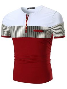 Stripe Panel Notch Neck Button Embellished T-shirt Stripe Panel Notch Neck Button Embellished T-shirt Camisa Polo, Henley Shirts, Polo T Shirts, Cheap T Shirts, Casual T Shirts, Nigerian Men Fashion, Mens Fashion, Shirt Price, Shirt Sale