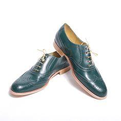 Emerald green oxford brogue shoes  FREE WORLDWIDE by goodbyefolk, $225.00
