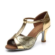 [US$ 15.99] Women's Leatherette Sparkling Glitter Heels Sandals Latin With T-Strap Hollow-out Dance Shoes (053111430)