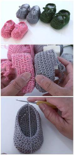 Crochet Easy Baby Shoes – We Love Crochet – Knitting Ideas Crochet Simple, Love Crochet, Crochet Yarn, Crochet Baby Booties, Crochet Slippers, Baby Blanket Crochet, Knitting Patterns, Crochet Patterns, Baby Shoes Crochet Pattern