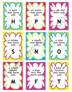 Alphabet Categories Naming Task- speech from MaggieSLP on TeachersNotebook.com (3 pages)  - This is a set of cards listing a category plus specific letter.  Originally designed for use during speech therapy sessions- this can be used in the schools to target such objectives as categorization and spelling.  It is also applicable for therapy with th