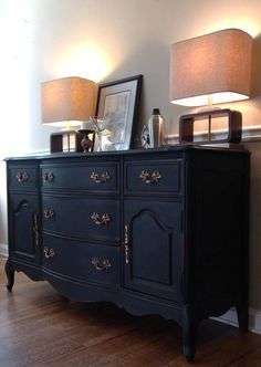 antique buffet refinished in annie sloan graphite chalk paint furniture pinterest. Black Bedroom Furniture Sets. Home Design Ideas