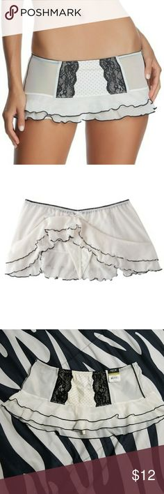 NWT Apt 9 lingerie lace skirt g-string thong panty Apt 9 skirt Size: Medium Brand new with tags Indulge in the sexy look and comfortable fit of this mesh and microfiber g-string panty. Attached skirt Tiered, ruffled hem  Minimal coverage Material: Nylon/Spandex. Apt. 9 Intimates & Sleepwear