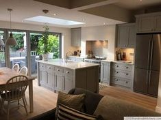 There is no question that designing a new kitchen layout for a large kitchen is much easier than for a small kitchen. A large kitchen provides a designer with adequate space to incorporate many convenient kitchen accessories such as wall ovens, raised. Small Open Plan Kitchens, Open Plan Kitchen Dining Living, Kitchen Diner Extension, Open Plan Kitchen Diner, Living Room Kitchen, Home Decor Kitchen, Kitchen Interior, New Kitchen, Home Kitchens