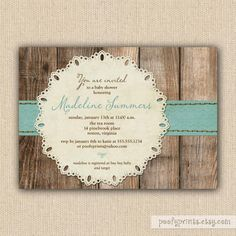 baby boy shower invitation printable baby shower invitation rustic invitation with wood background blue ribbon and lace doily madeline
