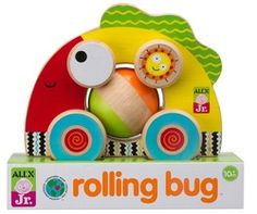 ALEX Discover My Busy Town Wooden Activity Cube - ALEX Toys ALEX Jr. Rolling Bug *** A lot more details might be discovered at the photo link. (This is an affiliate link). Toddler Toys, Baby Toys, Toys For Boys, Kids Toys, Tactile Stimulation, Activity Cube, Push Toys, Alex Toys, Wooden Car