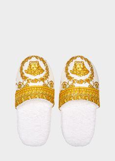 I ♡ Baroque Bath Slippers - White Slippers