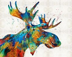 Moose Painting - Colorful Moose Art - Confetti - By Sharon Cummings by Sharon Cummings