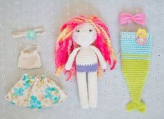 Convertible crochet doll: Mermaid and Doll in por LinaMarieDolls