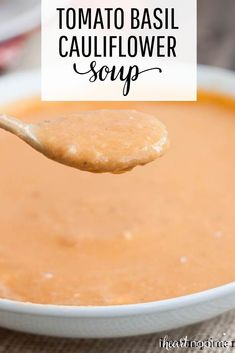 [orginial_title] – Jamielyn Nye – I Heart Naptime Tomato Basil Cauliflower Soup This easy cauliflower tomato soup is thick, creamy and full of flavor. The perfect healthy soup recipe that's comforting and delicious! Cauliflower Soup Recipes, Tomato Soup Recipes, Healthy Soup Recipes, Chili Recipes, Keto Recipes, Healthy Cooking, Healthy Food, Healthy Eating, Breakfast Recipes