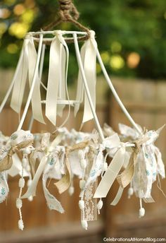 repurposed lamp shade frame chandeliers | celebrations at home